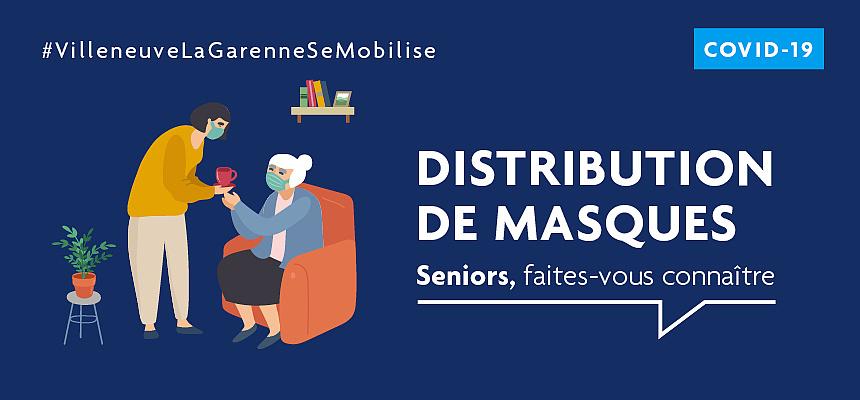 Distribution de masques chirurgicaux aux seniors de Villeneuve-la-Garenne