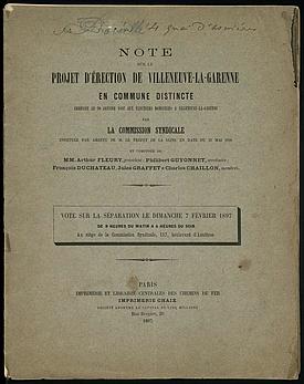 Rapport de la commission syndicale pour l'érection de la commune de Villeneuve-la-Garenne